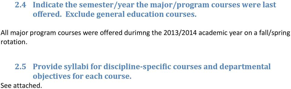 All major program courses were offered durimng the 2013/2014 academic year on a
