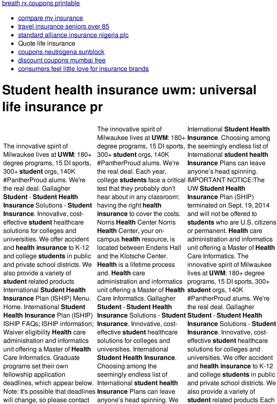 student orgs, 140K #PantherProud alums. We're the real deal. Gallagher Student - Student Health Insurance Solutions - Student Insurance.