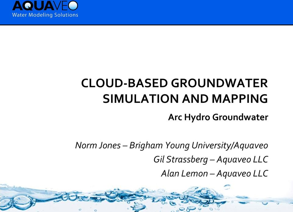 CLOUD-BASED GROUNDWATER SIMULATION AND MAPPING - PDF