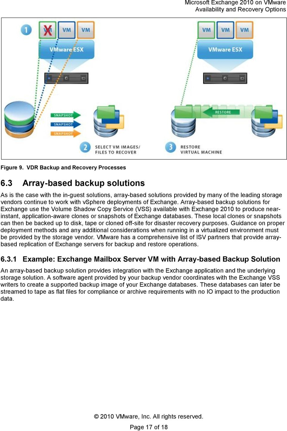 Array-based backup slutins fr Exchange use the Vlume Shadw Cpy Service (VSS) available with Exchange 2010 t prduce nearinstant, applicatin-aware clnes r snapshts f Exchange databases.