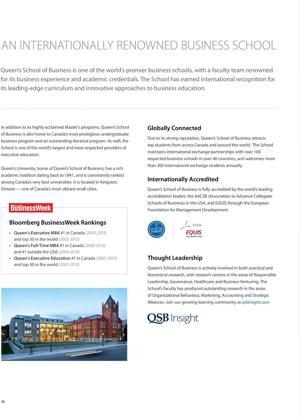 In addition to its highly acclaimed Master s programs, Queen s School of Business is also home to Canada s most prestigious undergraduate business program and an outstanding doctoral program.