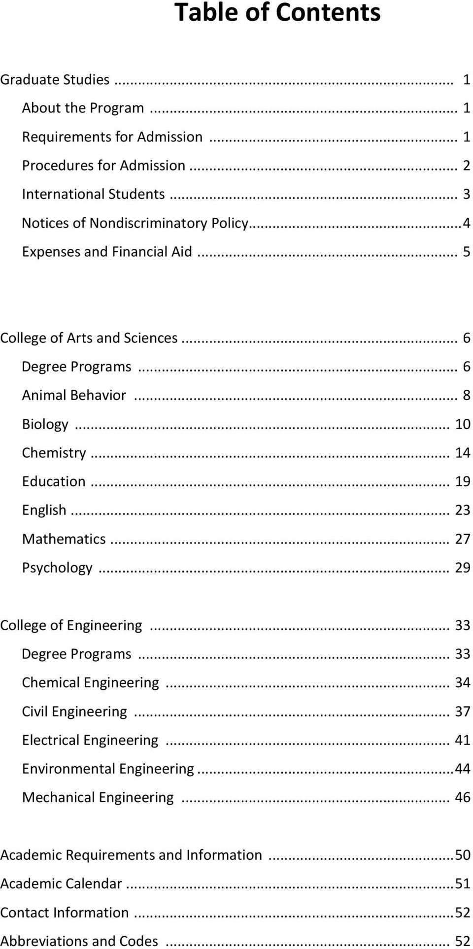.. 14 Education... 19 English... 23 Mathematics... 27 Psychology... 29 College of Engineering... 33 Degree Programs... 33 Chemical Engineering... 34 Civil Engineering.