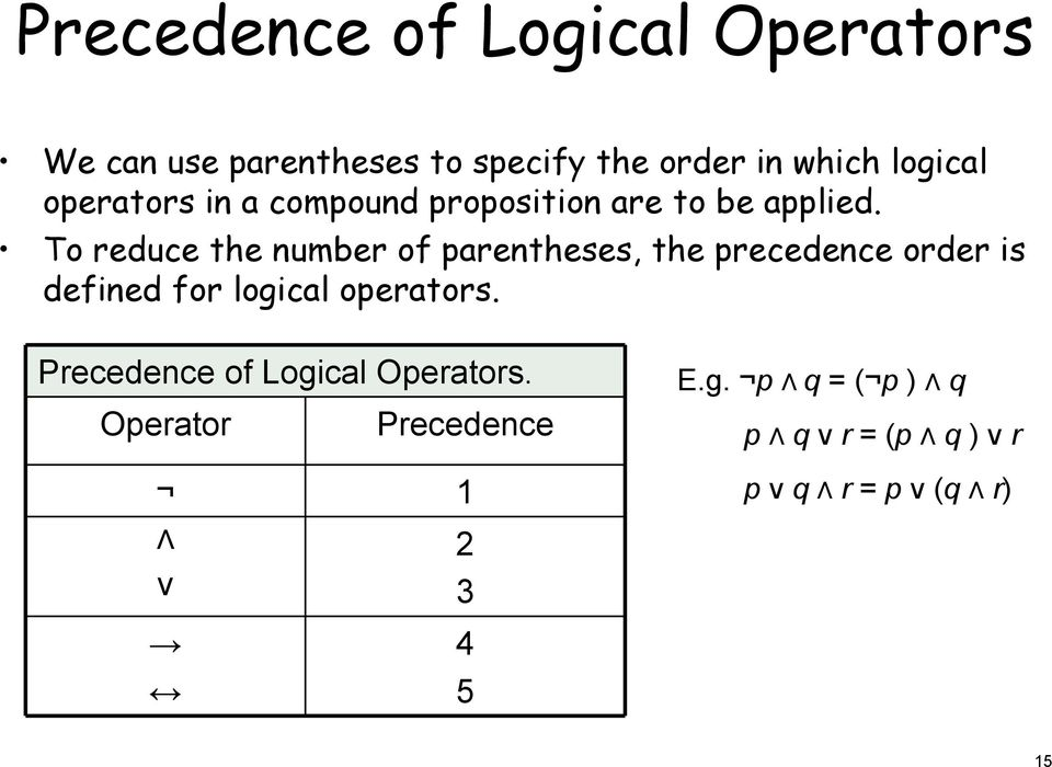 o reduce the number of parentheses, the precedence order is defined for logical operators.