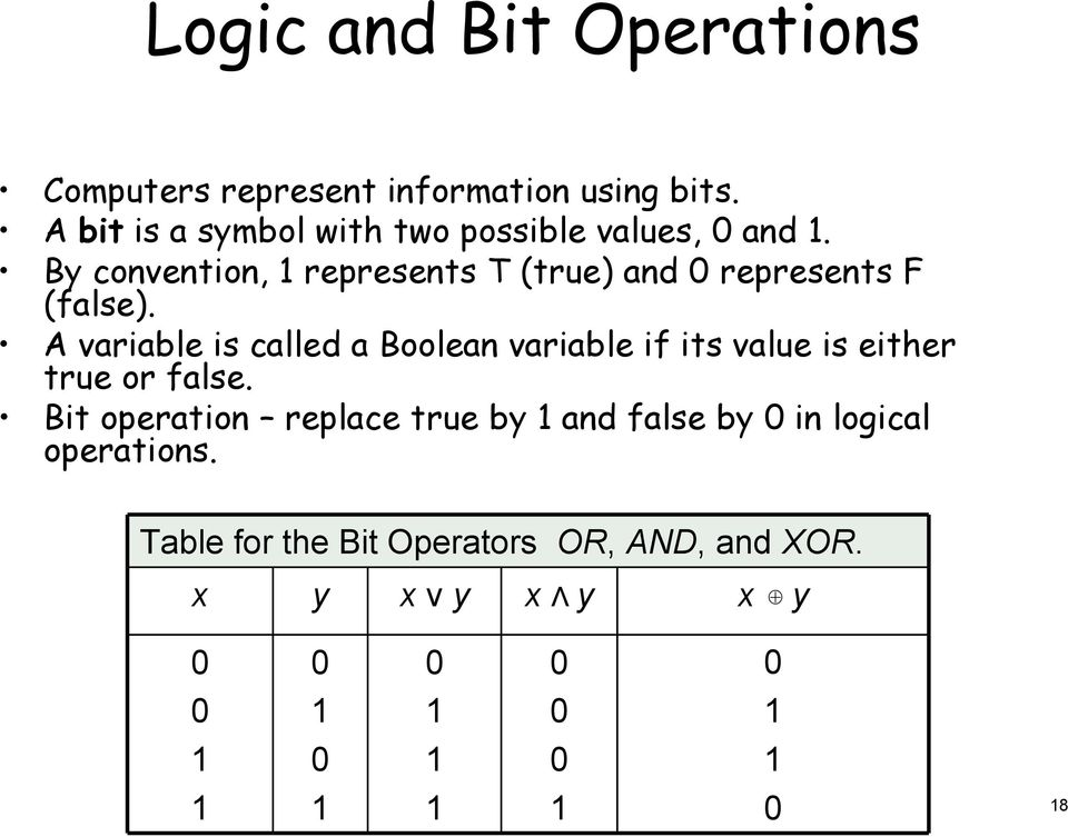 By convention, 1 represents (true) and 0 represents (false).