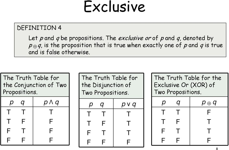 p and q is true and is false otherwise. he ruth able for the Conjunction of wo Propositions.