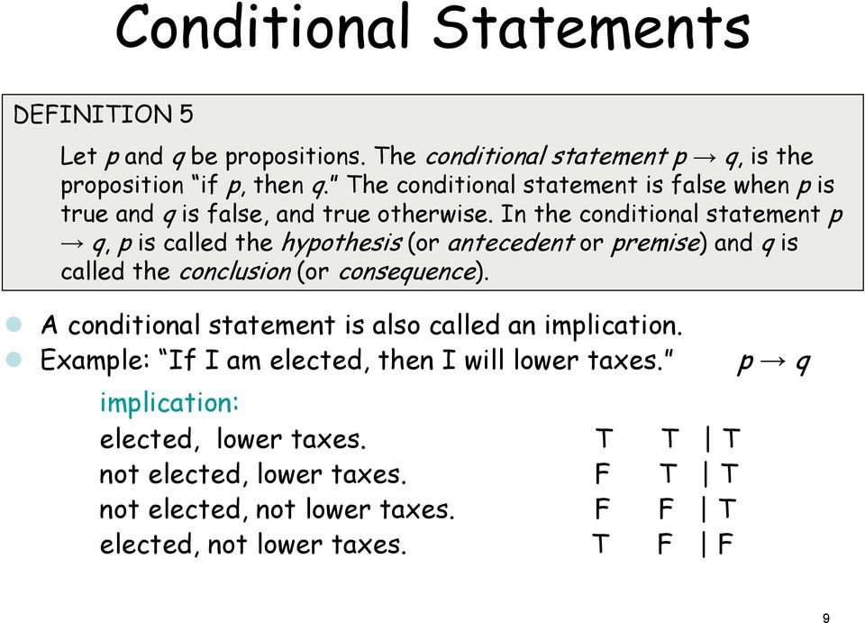 In the conditional statement p q, p is called the hypothesis (or antecedent or premise) and q is called the conclusion (or consequence).
