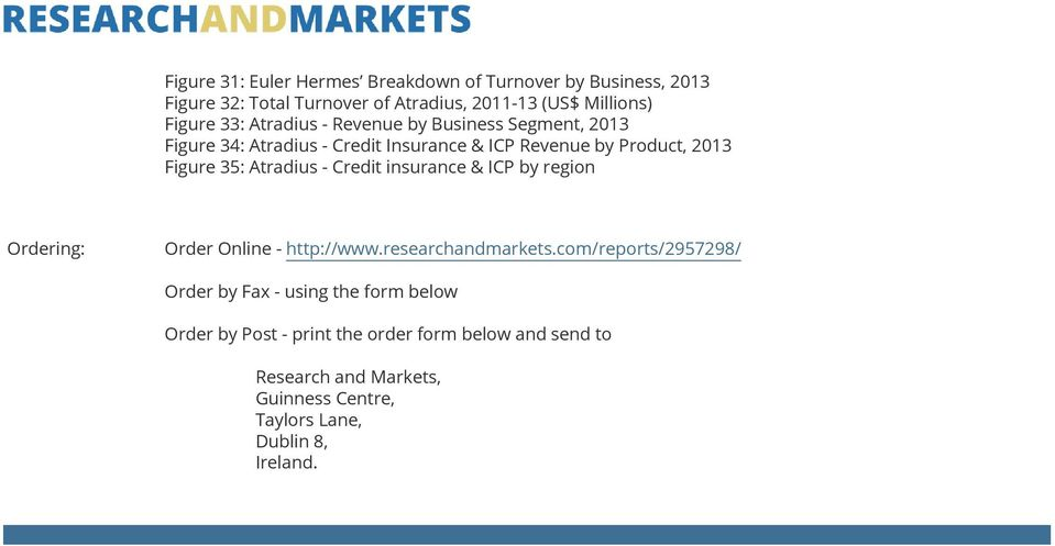 Atradius - Credit insurance & ICP by region Ordering: Order Online - http://www.researchandmarkets.