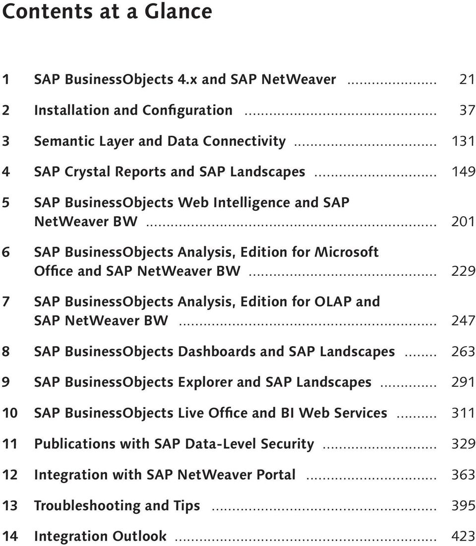 .. 229 7 SAP Business Objects Analysis, Edition for OLAP and SAP NetWeaver BW... 247 8 SAP Business Objects Dashboards and SAP Landscapes... 263 9 SAP Business Objects Explorer and SAP Landscapes.