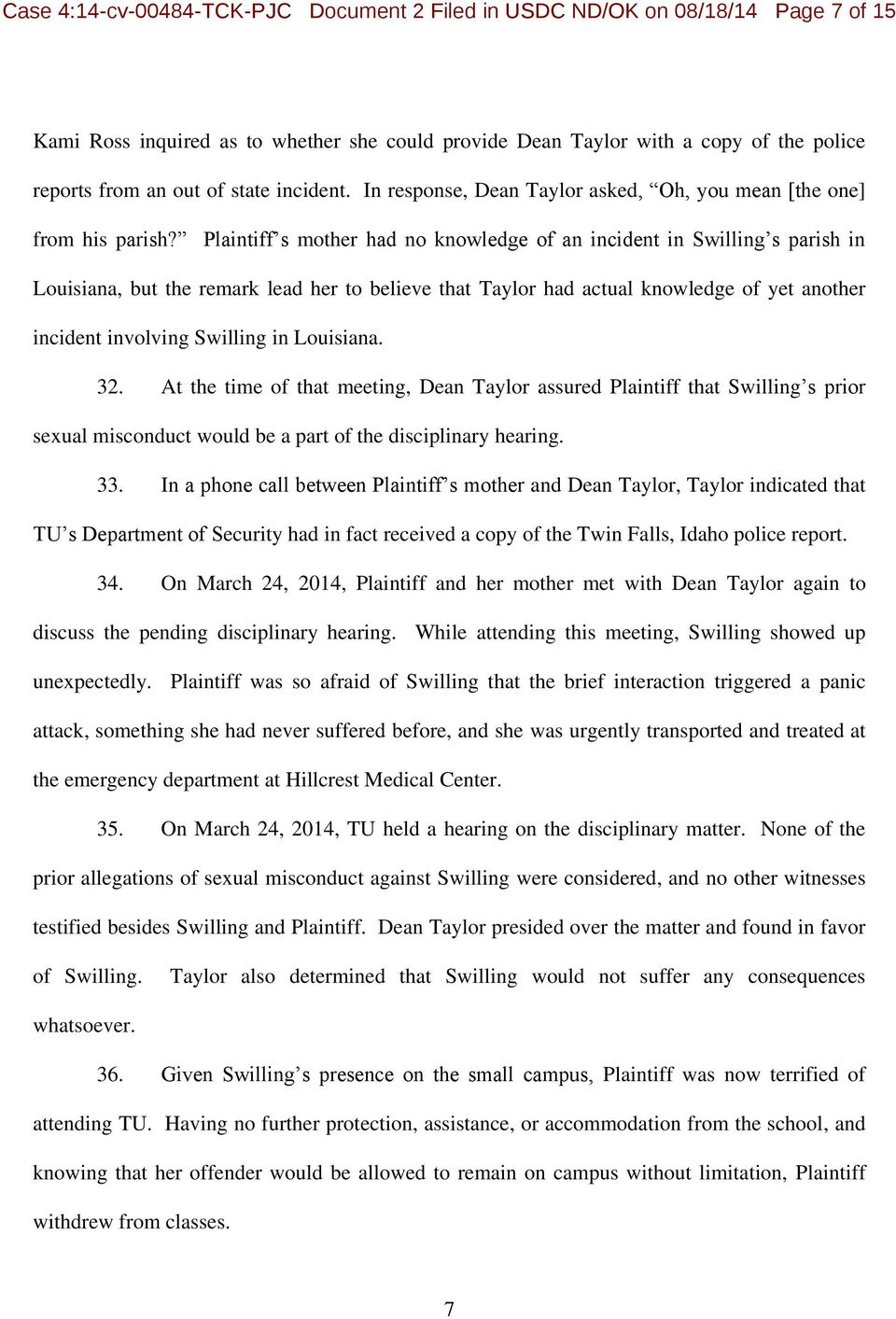 Plaintiff s mother had no knowledge of an incident in Swilling s parish in Louisiana, but the remark lead her to believe that Taylor had actual knowledge of yet another incident involving Swilling in