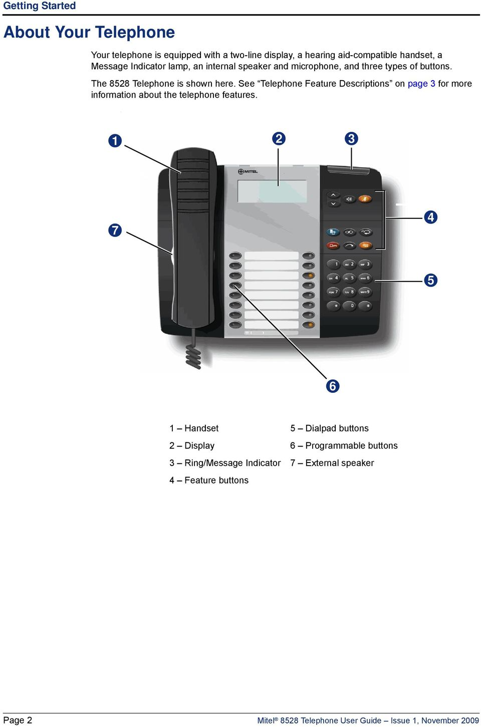 See Telephone Feature Descriptions on page 3 for more information about the telephone features.