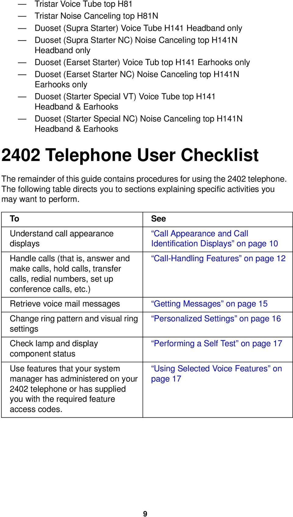 Special NC) Noise Canceling top H141N Headband & Earhooks 2402 Telephone User Checklist The remainder of this guide contains procedures for using the 2402 telephone.