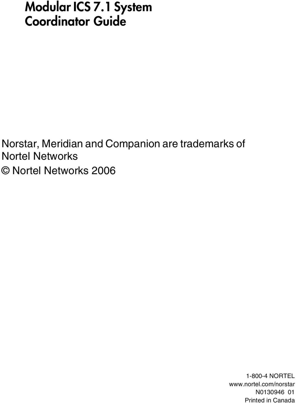 Companion are trademarks of Nortel Networks