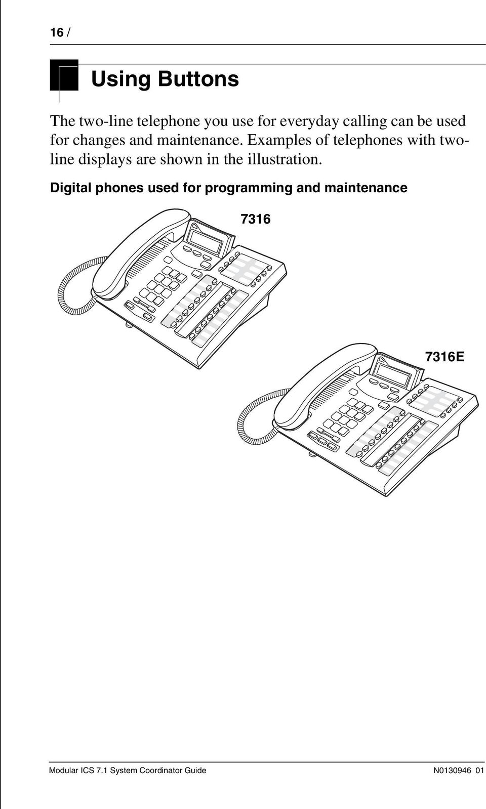 Examples of telephones with twoline displays are shown in the illustration.