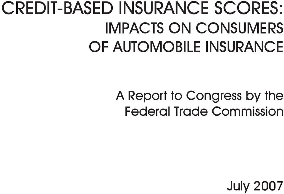 INSURANCE A Report to Congress by