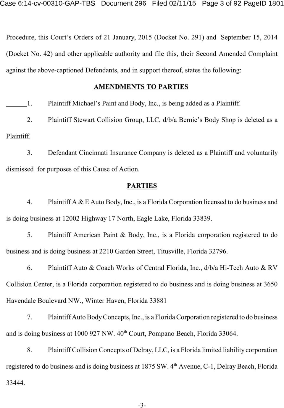 AMENDMENTS TO PARTIES 1. Plaintiff Michael s Paint and Body, Inc., is being added as a Plaintiff. 2. Plaintiff Stewart Collision Group, LLC, d/b/a Bernie s Body Shop is deleted as a 3.
