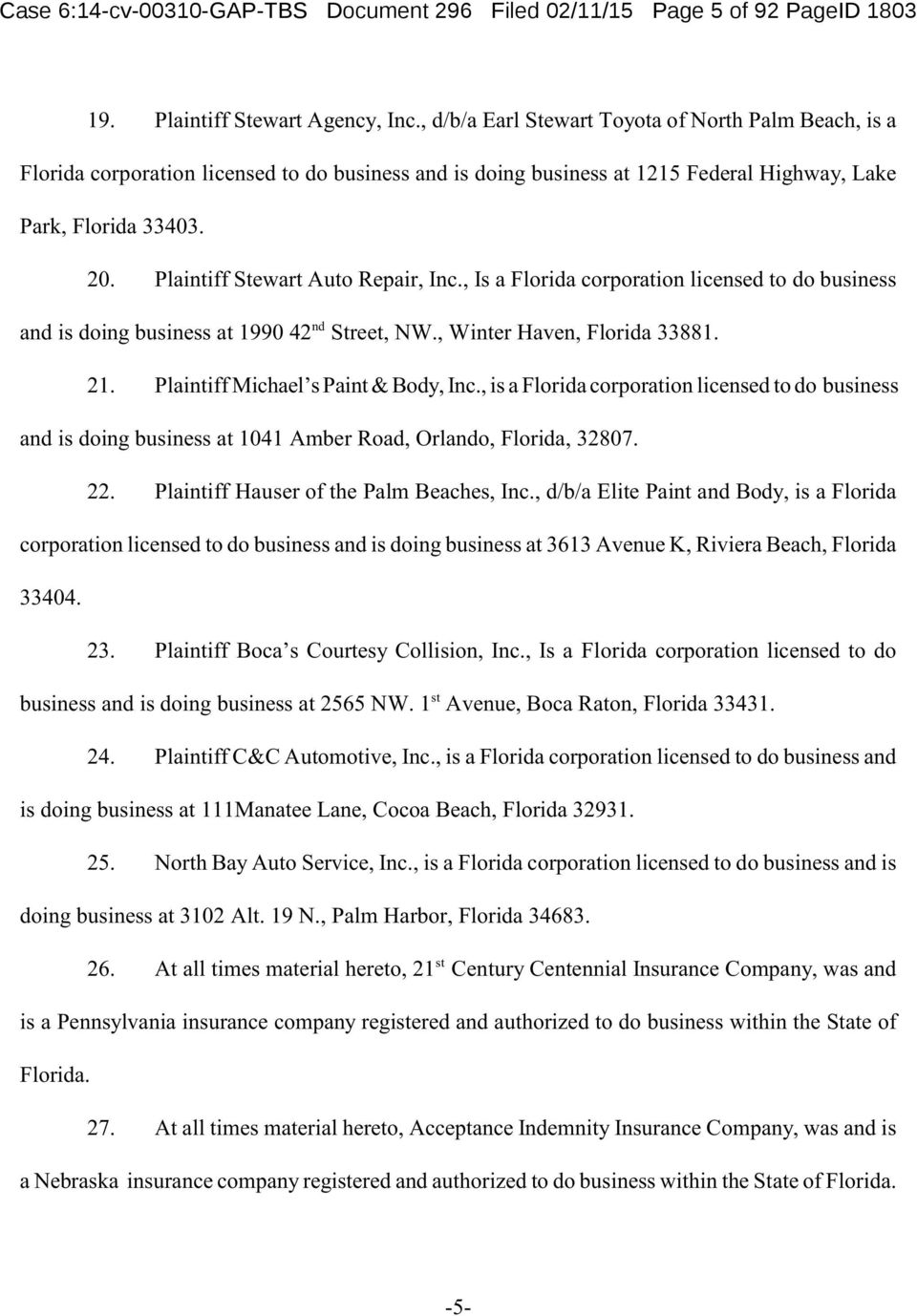 Plaintiff Stewart Auto Repair, Inc., Is a Florida corporation licensed to do business nd and is doing business at 1990 42 Street, NW., Winter Haven, Florida 33881. 21.