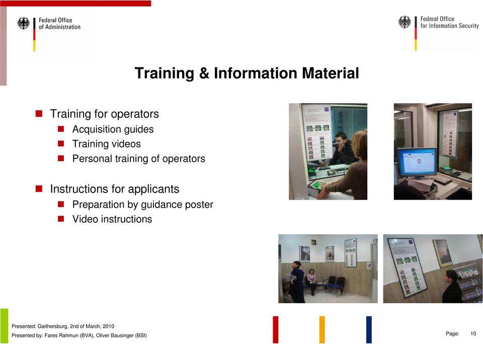 Personal training of operators Instructions for