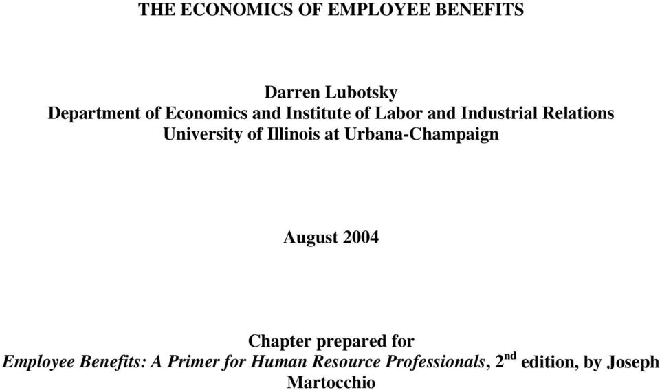 Illinois at Urbana-Champaign August 2004 Chapter prepared for Employee