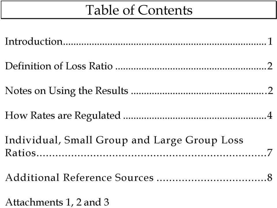 .. 4 Individual, Small Group and Large Group Loss Ratios.