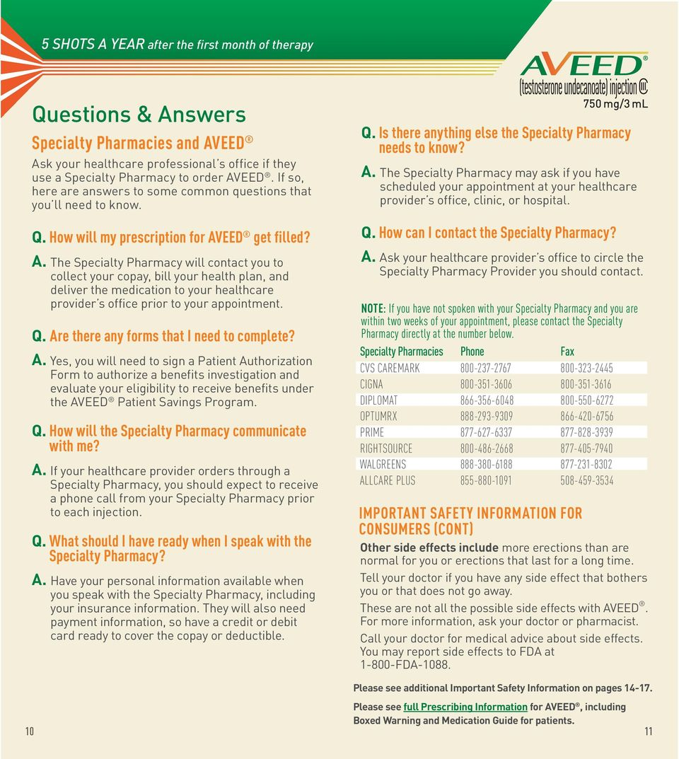 EED get filled? A. The Specialty Pharmacy will contact you to collect your copay, bill your health plan, and deliver the medication to your healthcare provider s office prior to your appointment. Q.