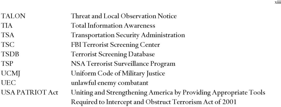 Screening Database NSA Terrorist Surveillance Program Uniform Code of Military Justice unlawful enemy