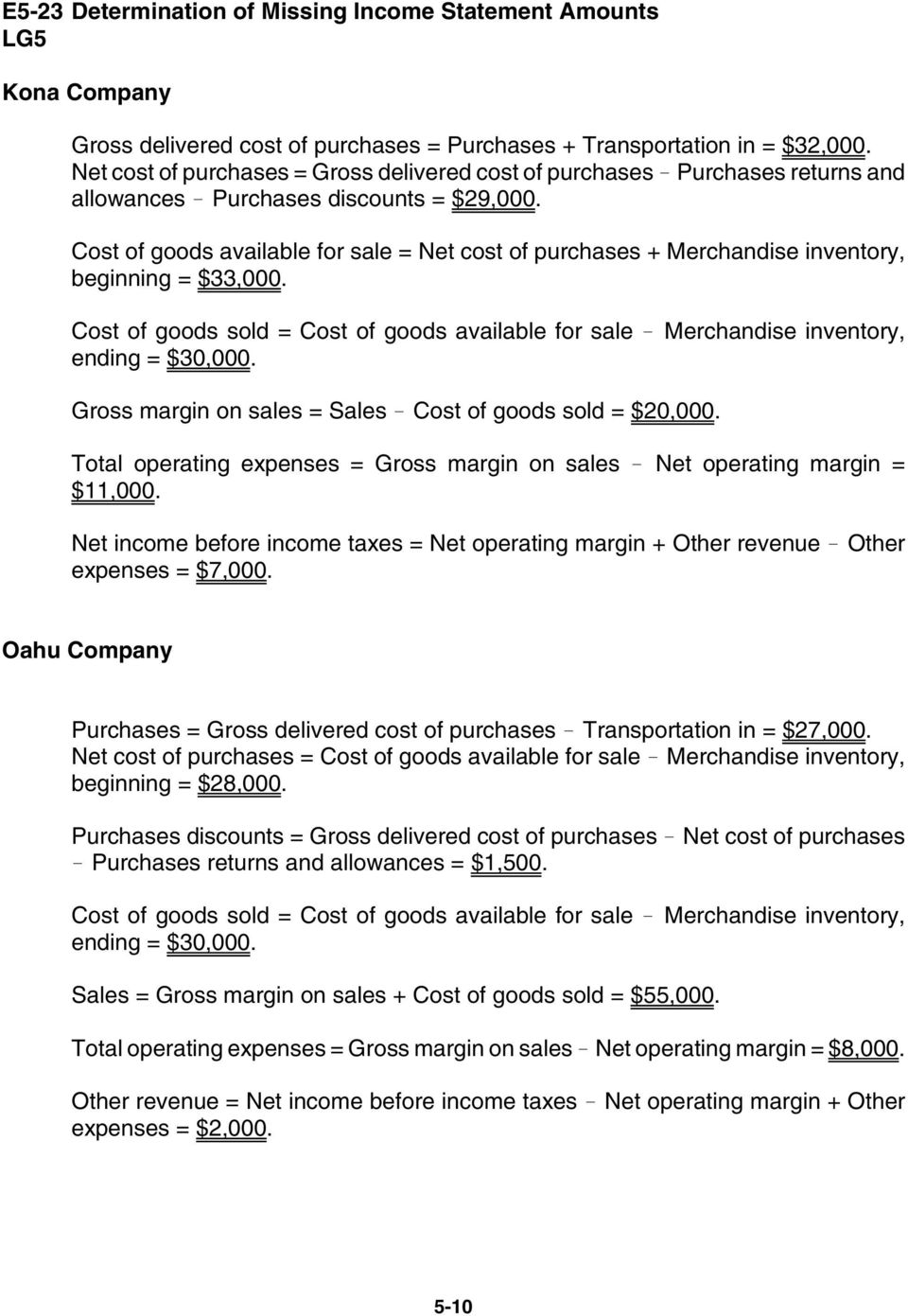 Cost of goods available for sale = Net cost of purchases + Merchandise inventory, beginning = $33,000. Cost of goods sold = Cost of goods available for sale! Merchandise inventory, ending = $30,000.