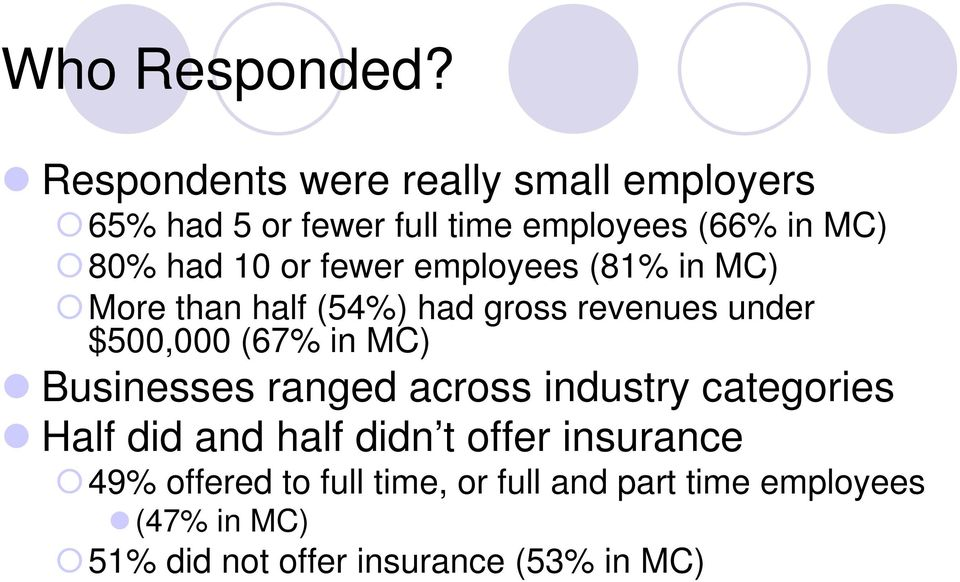 or fewer employees (81% in MC) More than half (54%) had gross revenues under $500,000 (67% in MC)