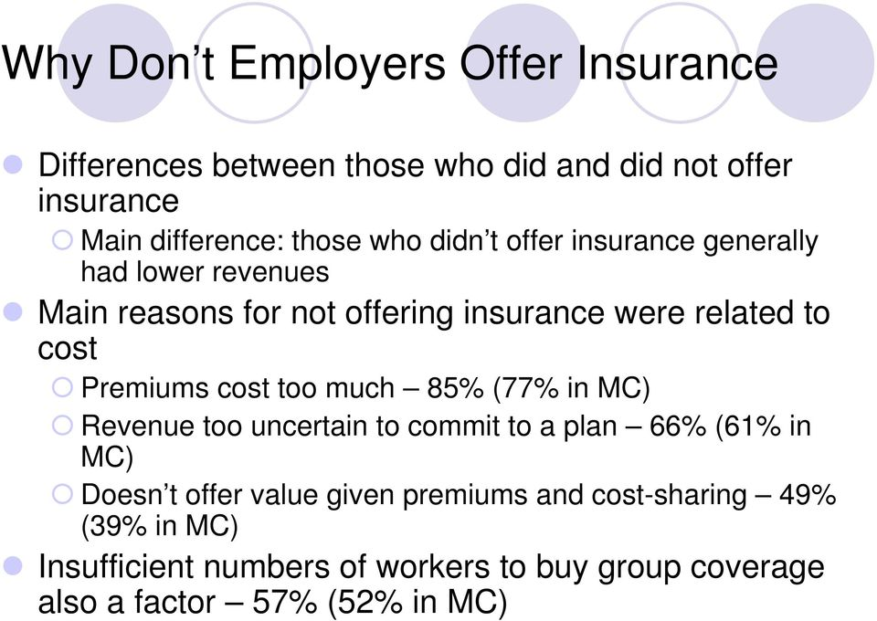 Premiums cost too much 85% (77% in MC) Revenue too uncertain to commit to a plan 66% (61% in MC) Doesn t offer value
