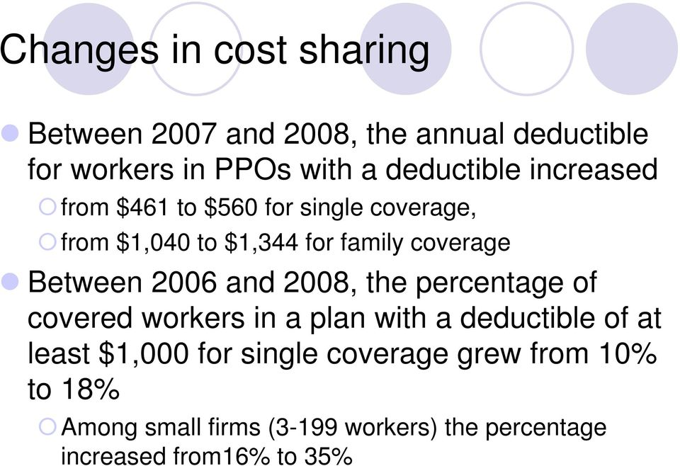 Between 2006 and 2008, the percentage of covered workers in a plan with a deductible of at least $1,000