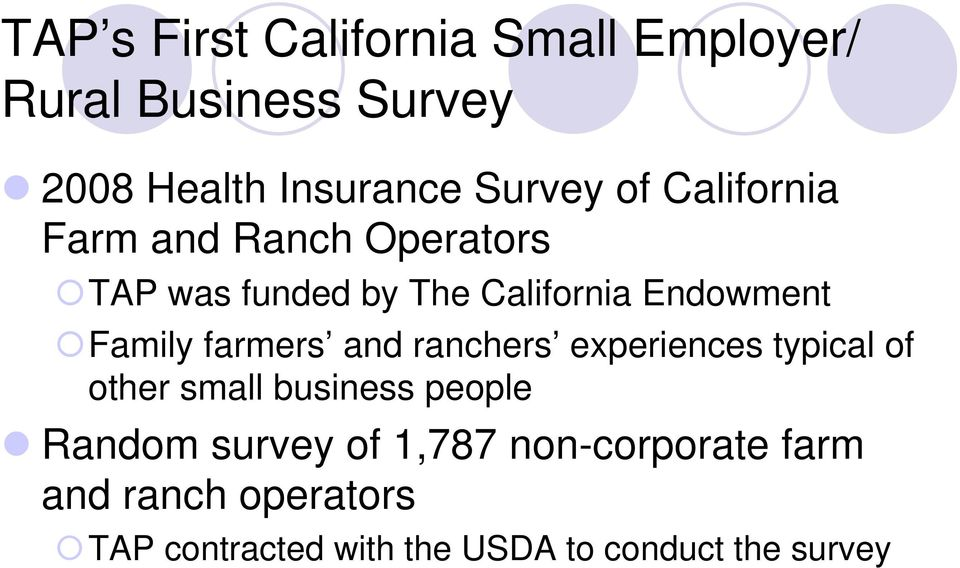 farmers and ranchers experiences typical of other small business people Random survey of