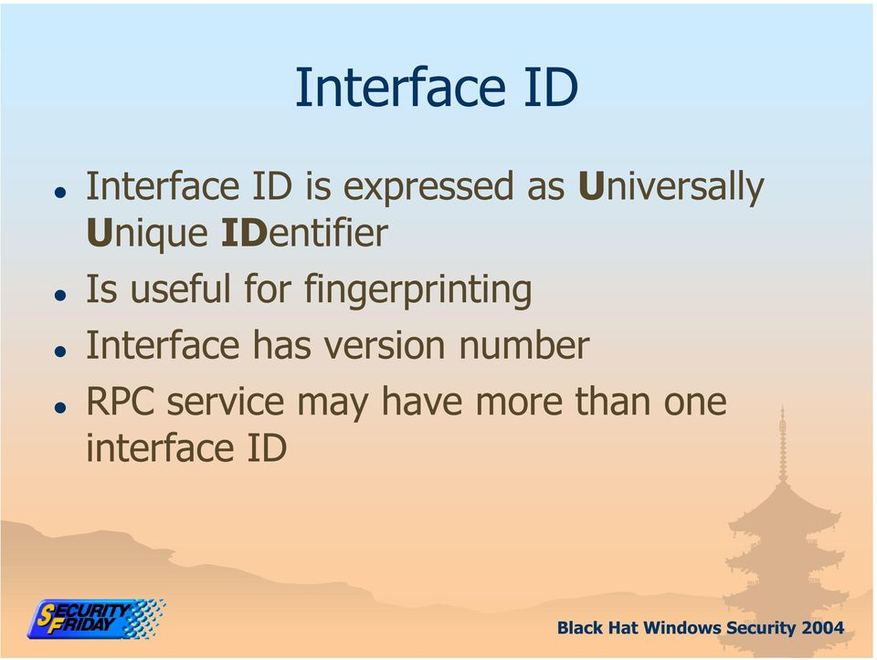 fingerprinting Interface has version number