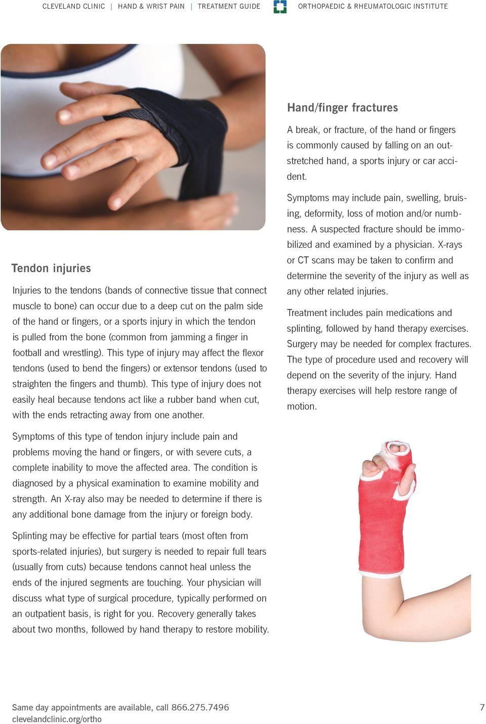 Tendon injuries Injuries to the tendons (bands of connective tissue that connect muscle to bone) can occur due to a deep cut on the palm side of the hand or fingers, or a sports injury in which the