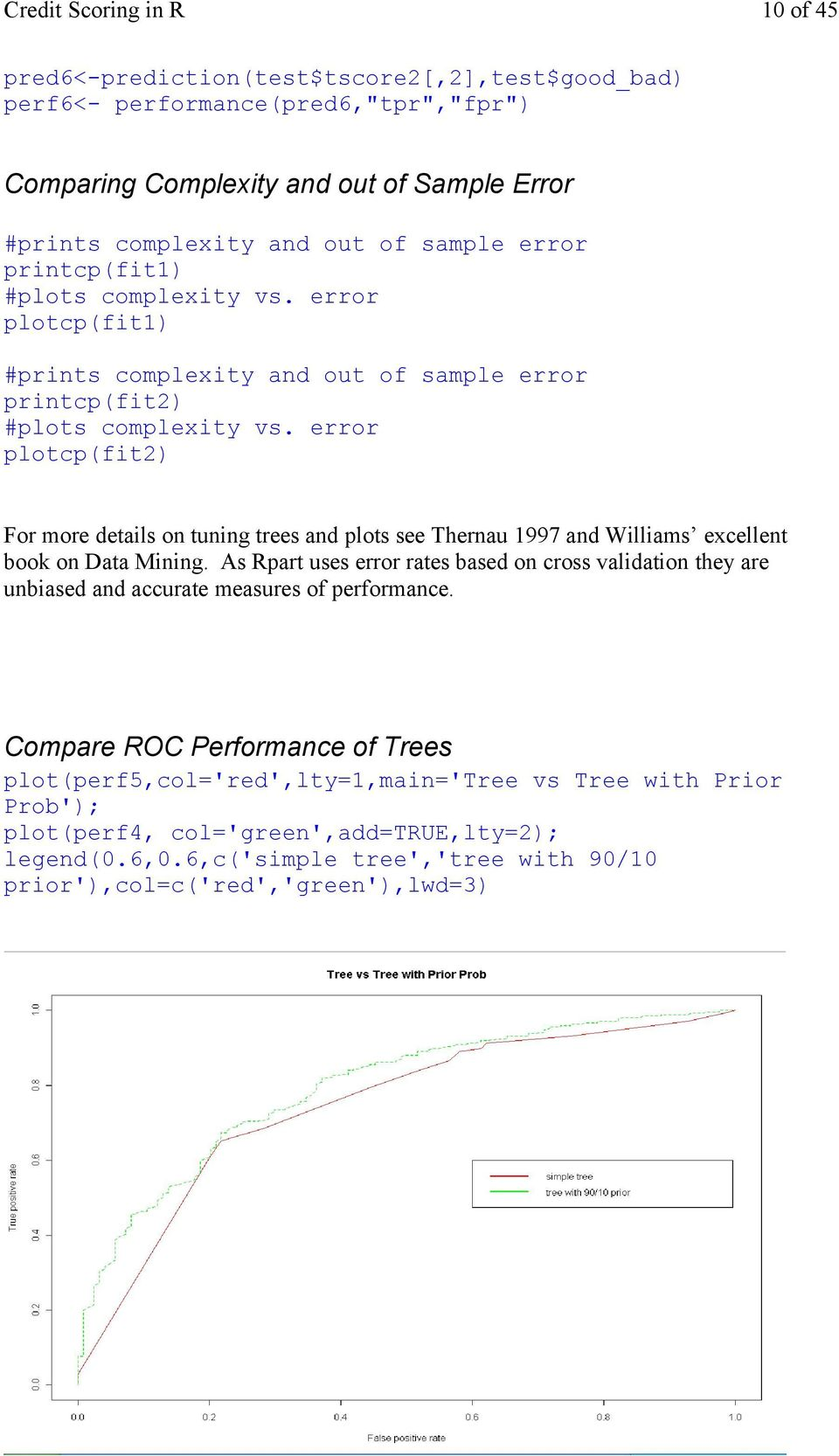 error plotcp(fit2) For more details on tuning trees and plots see Thernau 1997 and Williams excellent book on Data Mining.