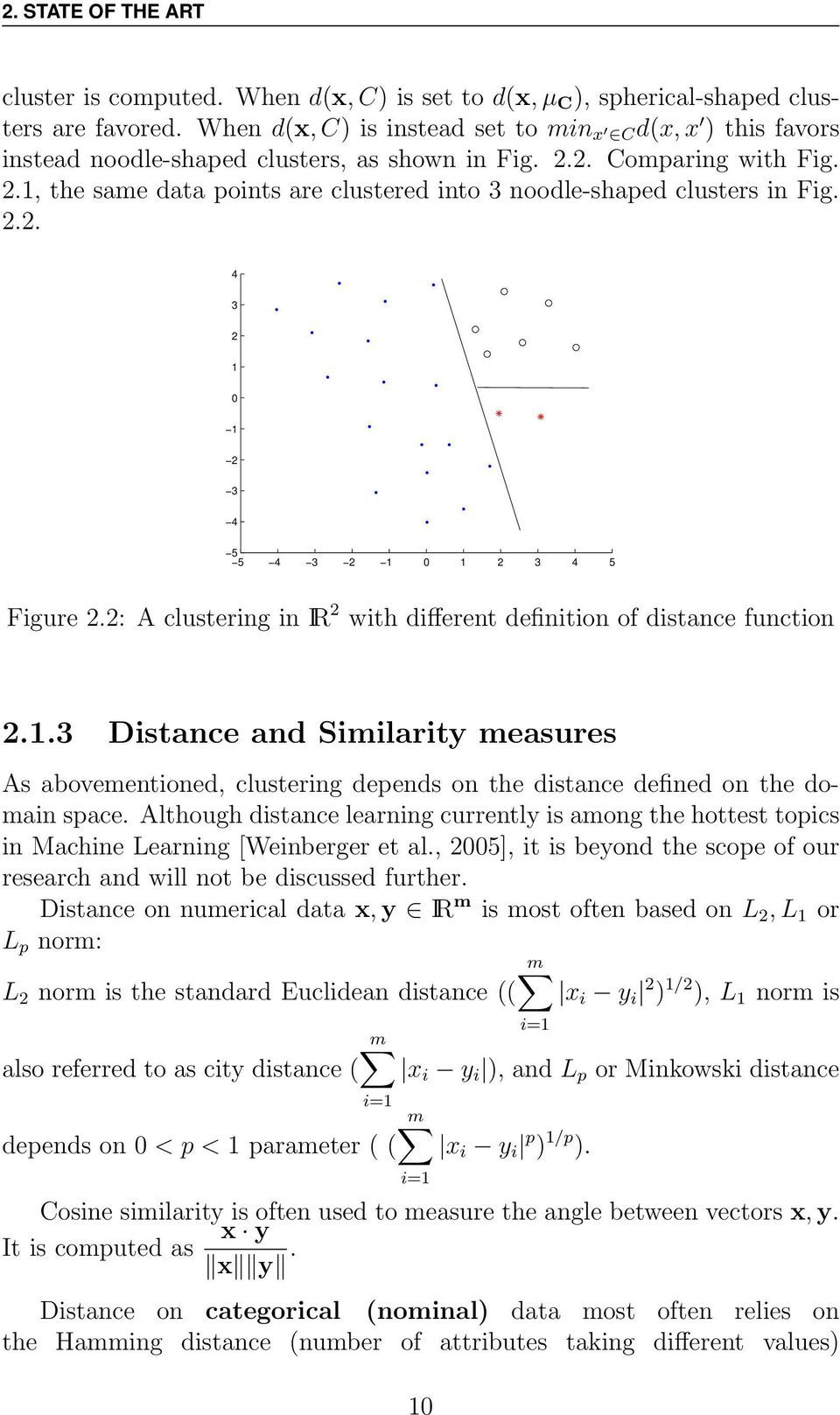 2.2. 4 3 2 1 0 1 2 3 4 5 5 4 3 2 1 0 1 2 3 4 5 Figure 2.2: A clustering in IR 2 with different definition of distance function 2.1.3 Distance and Similarity measures As abovementioned, clustering depends on the distance defined on the domain space.