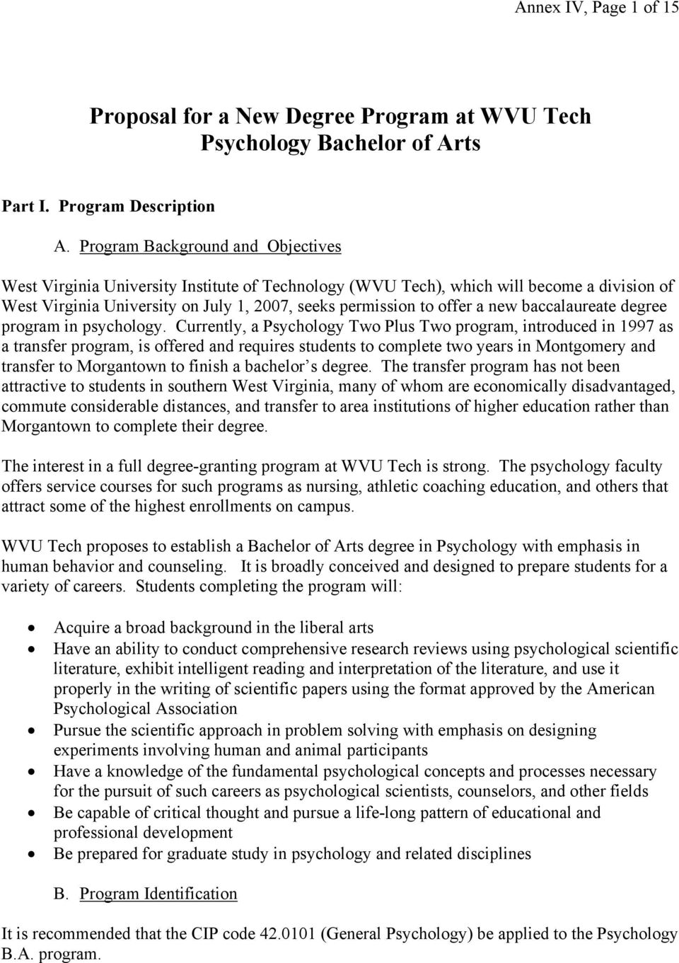 new baccalaureate degree program in psychology.