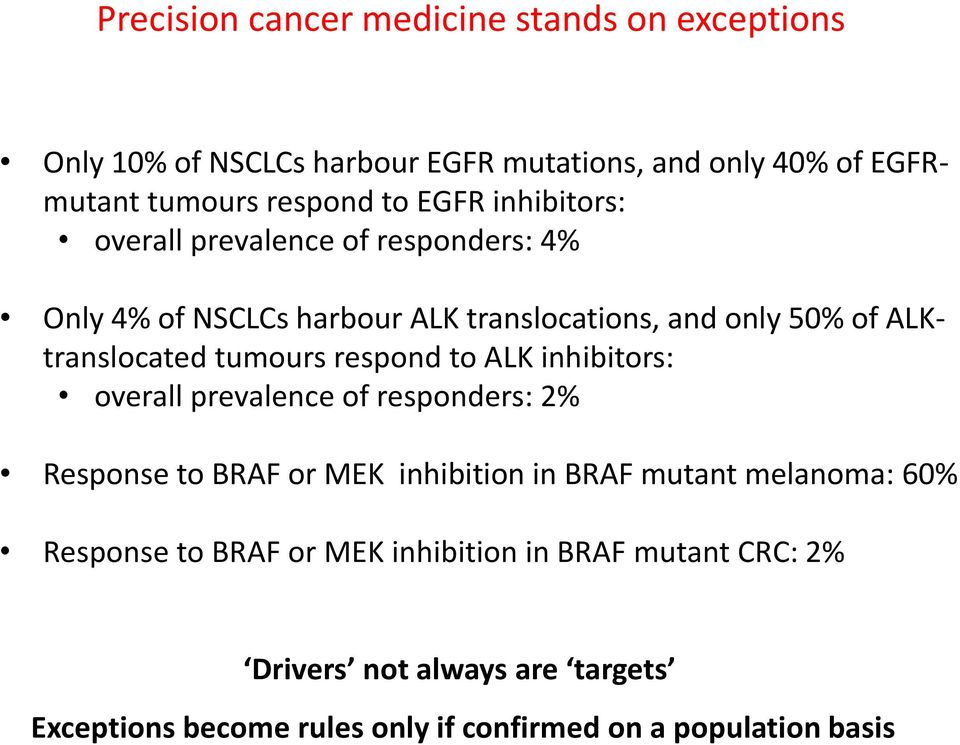 tumours respond to ALK inhibitors: overall prevalence of responders: 2% Response to BRAF or MEK inhibition in BRAF mutant melanoma: 60%