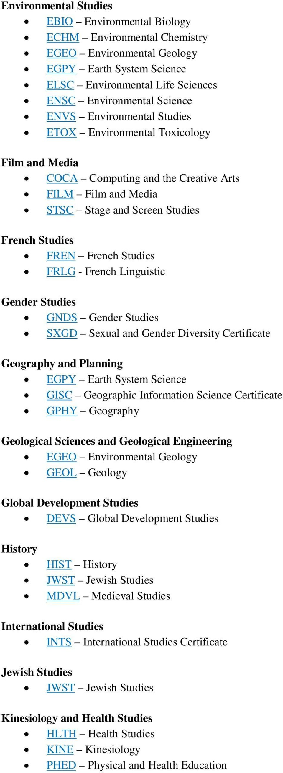 French Linguistic Gender Studies GNDS Gender Studies SXGD Sexual and Gender Diversity Certificate Geography and Planning EGPY Earth System Science GISC Geographic Information Science Certificate GPHY
