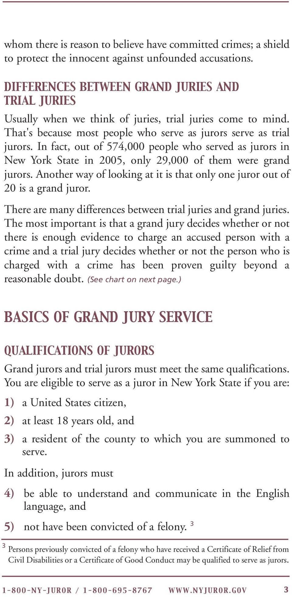 In fact, out of 574,000 people who served as jurors in New York State in 2005, only 29,000 of them were grand jurors. Another way of looking at it is that only one juror out of 20 is a grand juror.