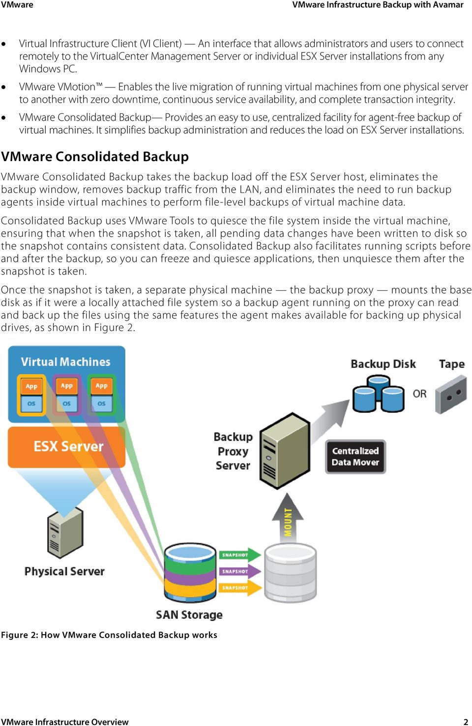 VMware VMotion Enables the live migration of running virtual machines from one physical server to another with zero downtime, continuous service availability, and complete transaction integrity.