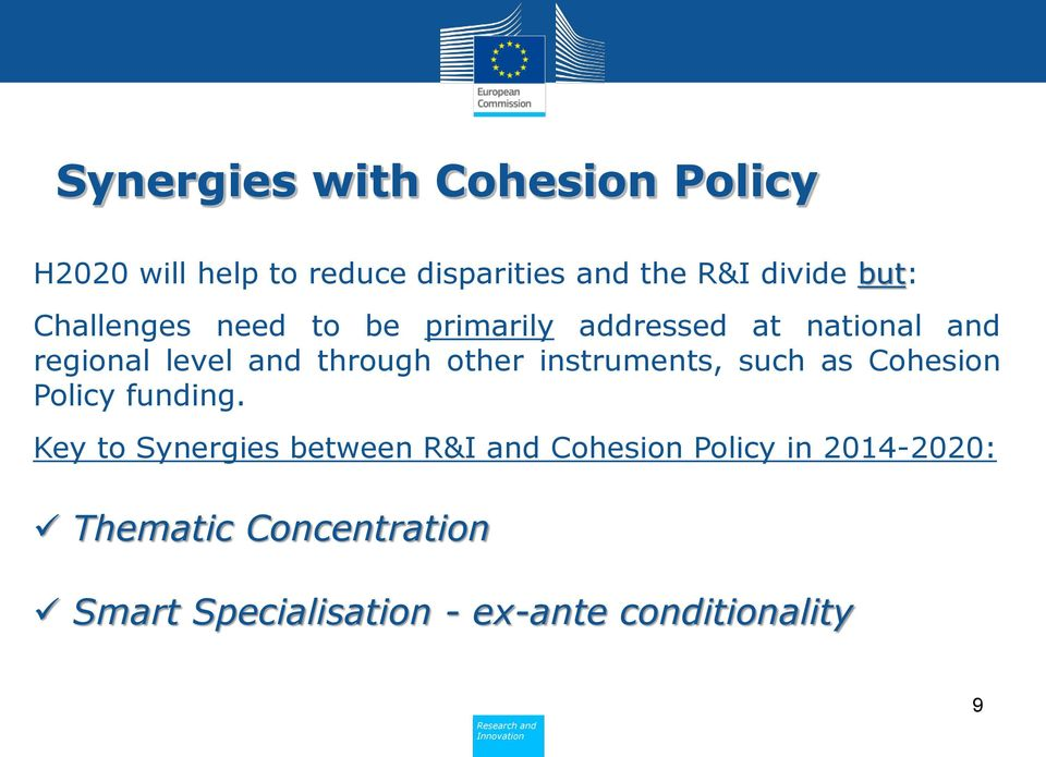 other instruments, such as Cohesion Policy funding.