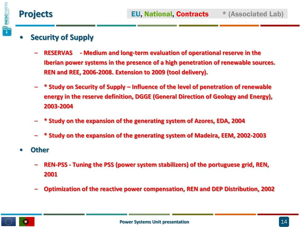 * Study on Security of Supply Influence of the level of penetration of renewable energy in the reserve definition, DGGE (General Direction of Geology and Energy), 2003-2004 * Study on the expansion