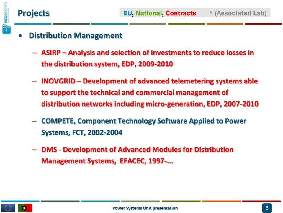 management of distribution networks including micro-generation, EDP, 2007-2010 COMPETE, Component Technology Software Applied to Power