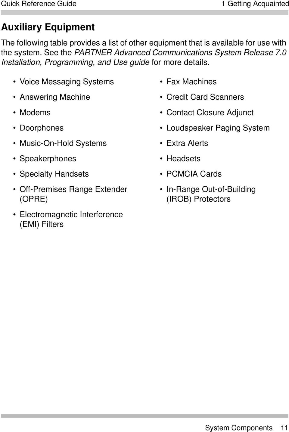 Voice Messaging Systems Answering Machine Modems Doorphones Music-On-Hold Systems Speakerphones Specialty Handsets Off-Premises Range Extender (OPRE)