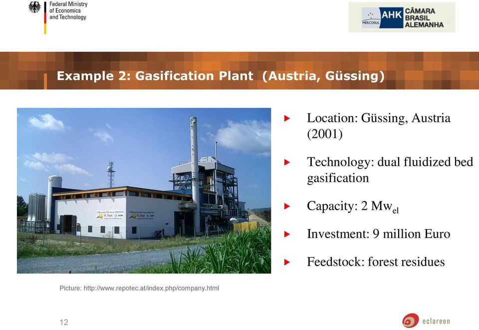 gasification Capacity: 2 Mw el Investment: 9 million Euro