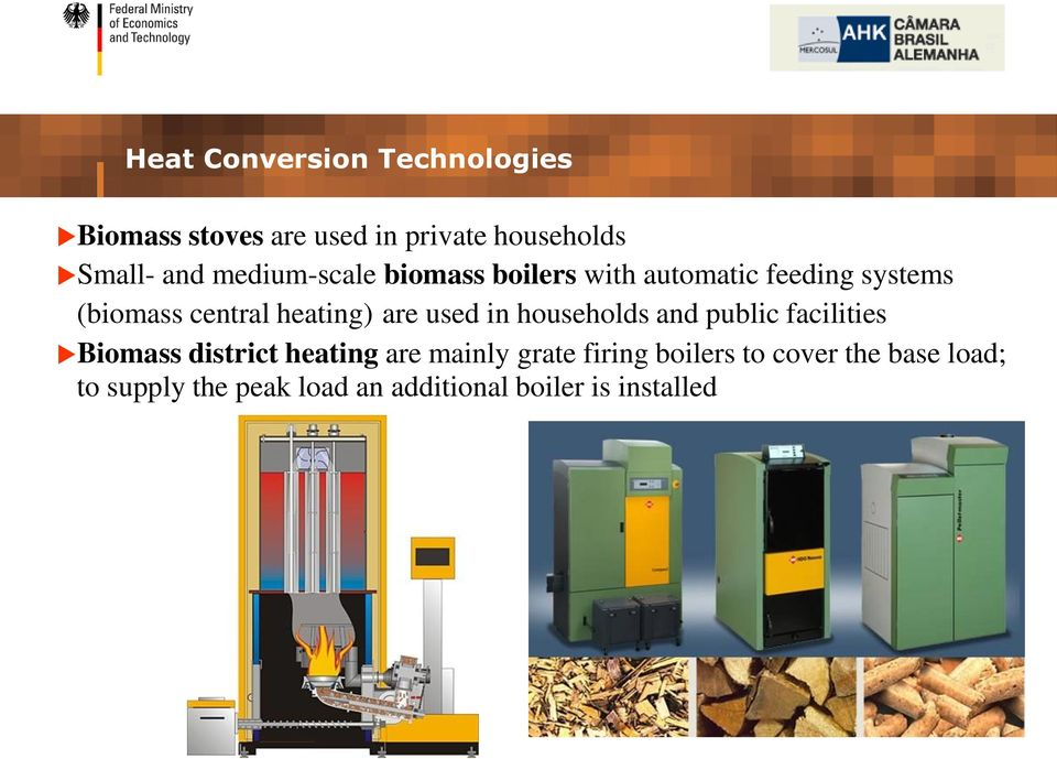 are used in households and public facilities Biomass district heating are mainly grate