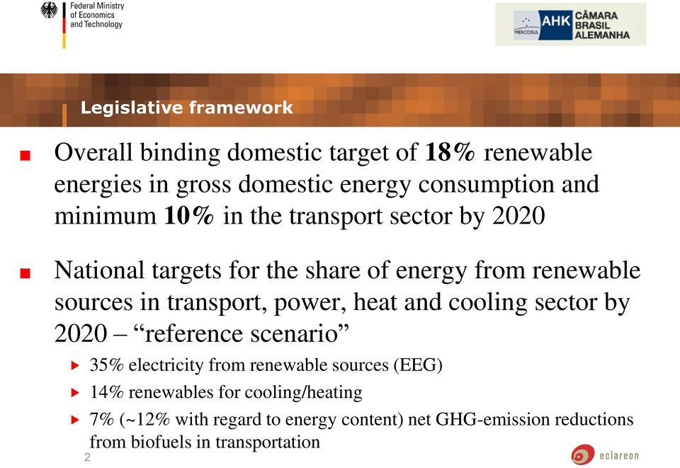 transport, power, heat and cooling sector by 2020 reference scenario 35% electricity from renewable sources (EEG) 14%