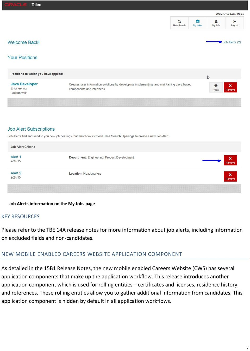 NEW MOBILE ENABLED CAREERS WEBSITE APPLICATION COMPONENT As detailed in the 15B1 Release Notes, the new mobile enabled Careers Website (CWS) has several application components that