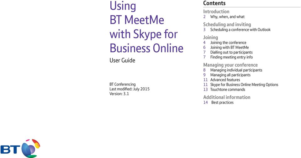 Using BT MeetMe with Skype for Business Online - PDF