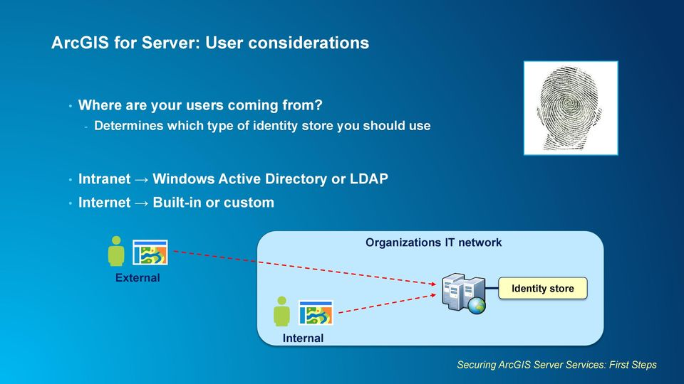 Active Directory or LDAP Internet Built-in or custom Organizations IT