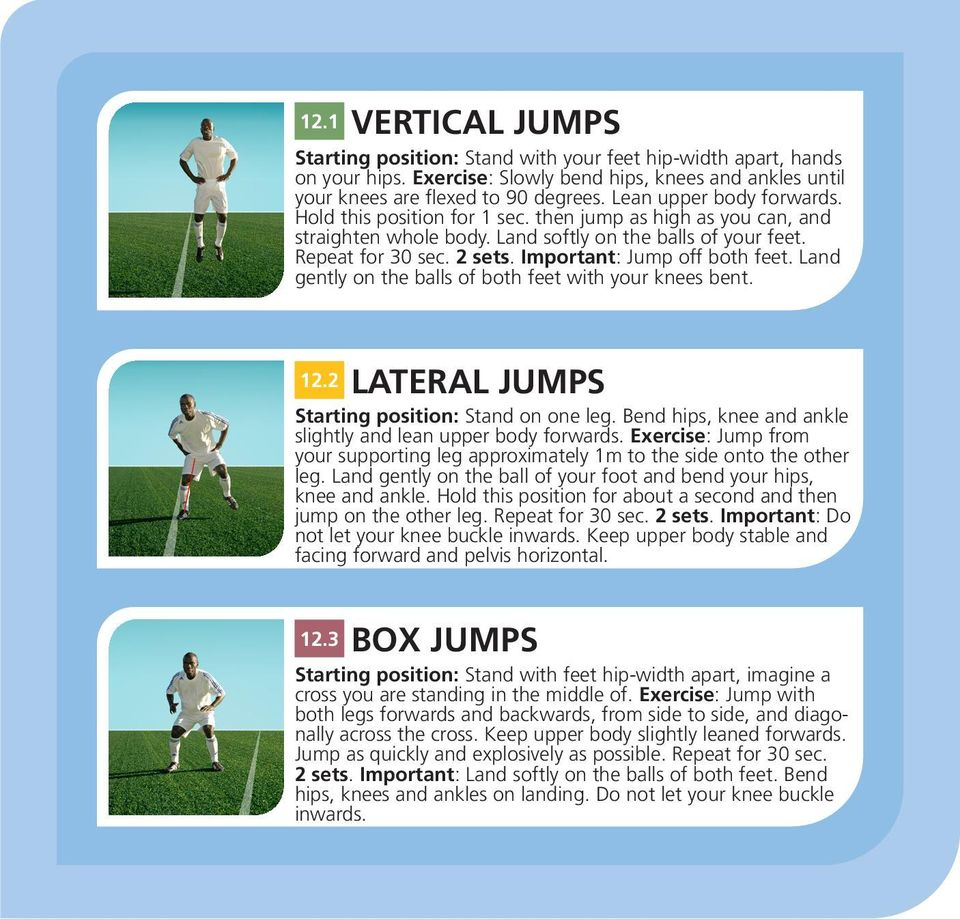 Important: Jump off both feet. Land gently on the balls of both feet with your knees bent. 12.2 LATERAL JUMPS Starting position: Stand on one leg.